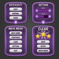 menú del juego morado y botón tema morado vector