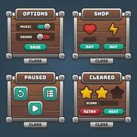 juego de menú de interfaz de usuario de madera y plata vector