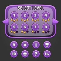 Purple game level select and buttons vector