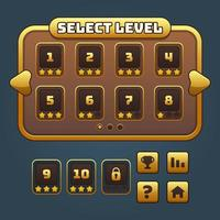 Gold game level select and buttons set vector