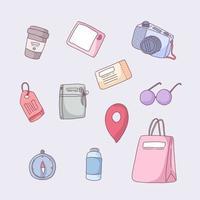Item of travel set in cartoon vector illustration