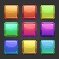 Fondo de botón de icono de piedra cuadrada vector