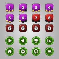 Game levels and buttons set vector