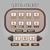 Game level select ui and button vector