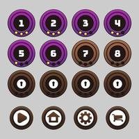Round game levels and buttons set vector