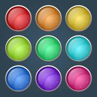Bright colorful round button and icon background set vector
