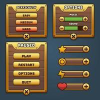 Game wood and gold UI menu vector