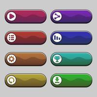 Game dark color menu buttons set vector