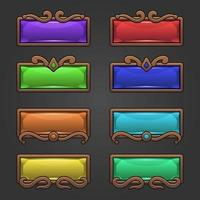 Fantasy gem buttons with ornament wood frame set vector