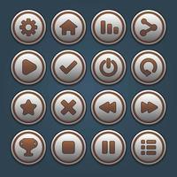 Silver round button set vector