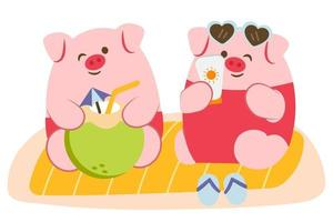Happily Pig lover have vacation on the beach vector
