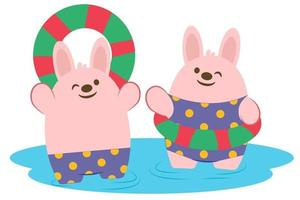 Happily Rabbit couple in swimming pool vector