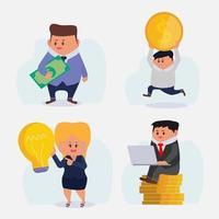 conjunto de empresarios trabajan y reciben salario u obtienen recompensas vector