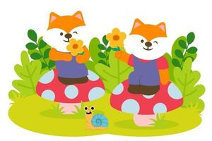 Fox couple Happily admire the flowers in park vector