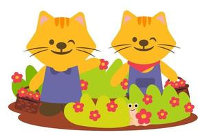 Tiger couple Happily admire the flowers in park vector