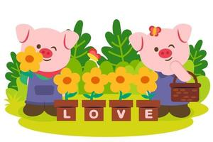 Pinky pig couple with sun flower in pot vector
