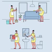 conjunto de asuntos mujer ama de casa. Barrer el piso, limpiar el sofá, lavar el paño, limpiar el inodoro. vector