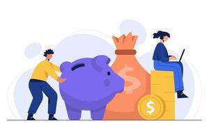 Ilustración del ahorro de dinero en el sector doméstico para la inversión, el gasto y la vida diaria. vector