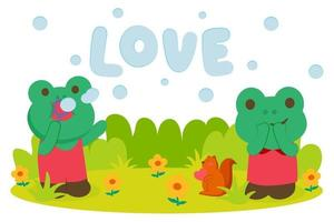 Couple frog blowing soap bubbles in park vector