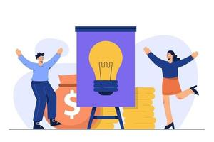 Idea for financial target, Ivestment success concept. Vector illustration for web, print, presentation.