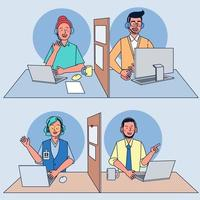 Call center operators at work Woman and man with headphones and microphone with laptop for customer support, help, call center. vector