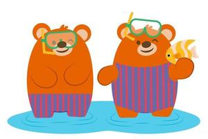 Bear Couple Happily diving in the sea vector