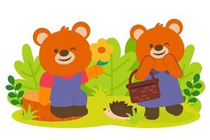 Bear lover Happily with flowers in park vector
