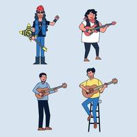 Set of multipl musician guitar player singing song and playing an many kind guitar. vector