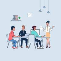 Business staff talking and working at the computers and chart in meeting room. flat illustration vector design