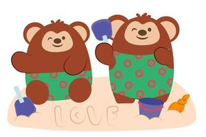 Monkey kids enjoy to play with sand on beach vector