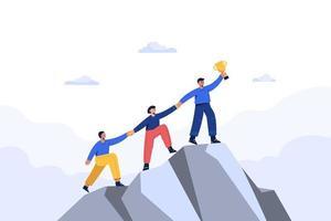 empresario exitoso y su equipo buscan nuevas oportunidades de negocio. vector