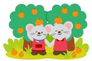 Rat lover collect orange fruits in farm vector