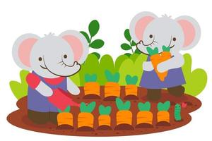 Elephant couple planting carrot together vector