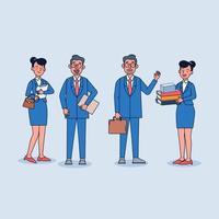 ejecutivo de negocios con una secretaria. secretaria dando carpeta de documentos al jefe. ilustración vectorial de dibujos animados de estilo plano. vector