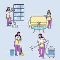 conjunto de asuntos mujer ama de casa. Barrer el piso, limpiar el sofá, limpiar el vidrio, aspirar el piso. vector