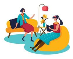 The young woman and her best friend sat in a chair talking about the finished book. vector