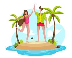 A young woman and boyfriend on vacation arrived at the beach and prepared for a dip in the sea. vector