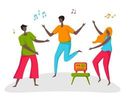 A group of young men and women dance to the sounds of the radio in the park. vector