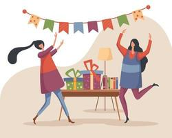 2 girls have fun at a house party that is decorated with beautiful flags and they exchange gifts vector