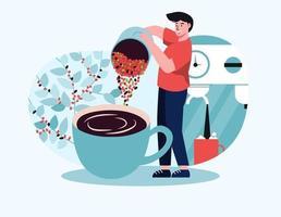 Barista preparing espresso for customers coming to buy coffee. vector