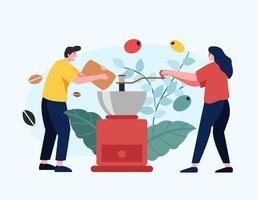 una cafetera está moliendo granos de café para los clientes que vienen a comprar café molido. vector