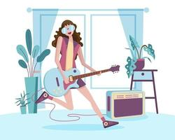 Young musicians play the guitar happily at home parties. vector