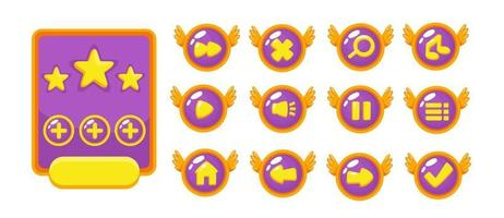 Complete set of level button game pop-up, icon, window and elements for creating medieval RPG video games vector