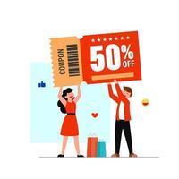 Flat cartoon character customer 50 percent discount with coupon vector