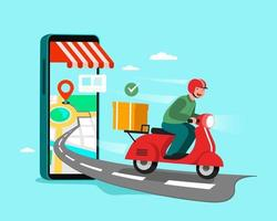 Delivery Staff Ride Motorcycles , shopping concept. vector