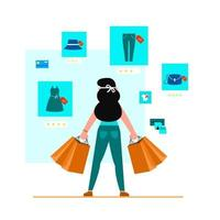 Woman carrying many paper bags after shopping for goods vector