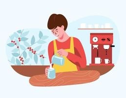 Barista preparing coffee lattes for customers who come to buy coffee. vector