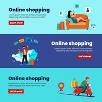 Online shopping banner, mobile app templates, concept flat design vector