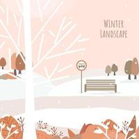 vector of Houses, roads and snow-covered forests