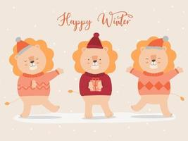 vector of final winter with lion wearing sweater and christmas hat